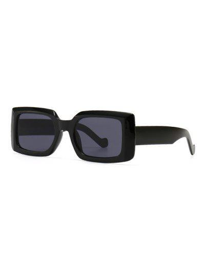 Retro Wide Frame Rectangle Sunglasses - Black