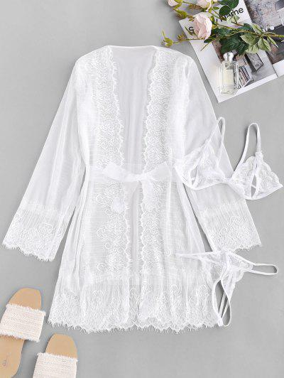 Lace Mesh See Thru Sexy Lingerie Robe Set - White