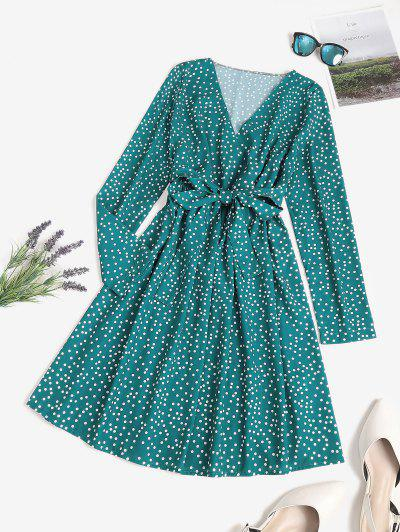Polka Dot Surplice A Line Tie Waist Dress - Deep Green M