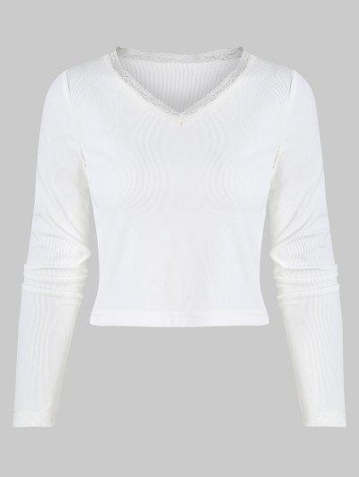 T-shirt Côtelé à Bordure En Dentelle à Col V Pour Bébé - Blanc L