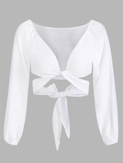 Cropped Twist Tie-around Blouse - White S