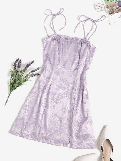 Jacquard Satin Tie Shoulder Slit Cami Dress - Light Purple L
