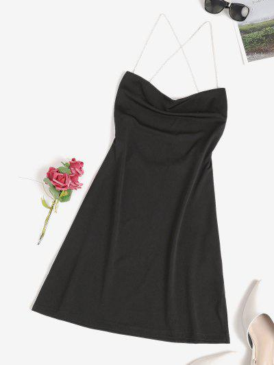 Diamante Strap Criss Cross Backless Slit Dress - Black L
