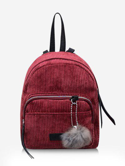 Fuzzy Ball Pendant Corduroy Backpack - Red Wine