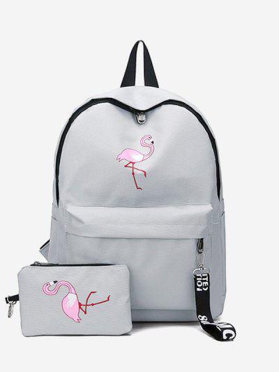 2Pcs Flamingo Print Canvas Pen Bag Backpack Set - Gray Cloud
