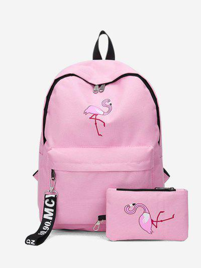 2Pcs Flamingo Print Canvas Pen Bag Backpack Set - Pig Pink