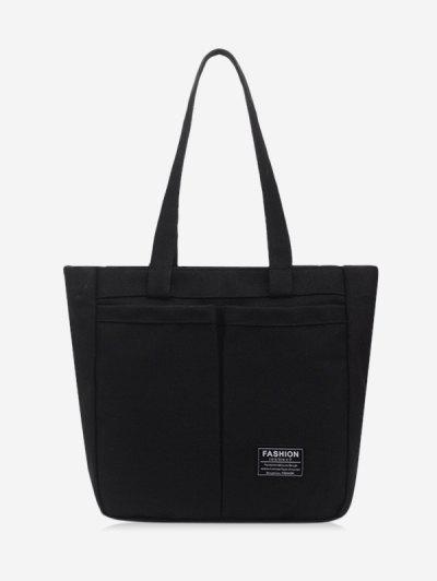 Letter Label Canvas Tote Bag - Black