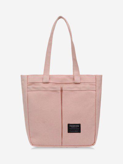Letter Label Canvas Tote Bag - Pig Pink