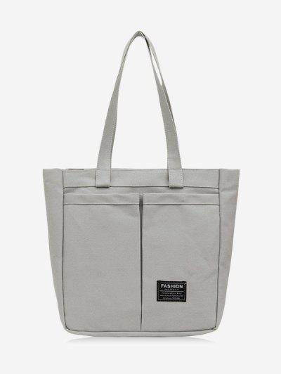Letter Label Canvas Tote Bag - Battleship Gray