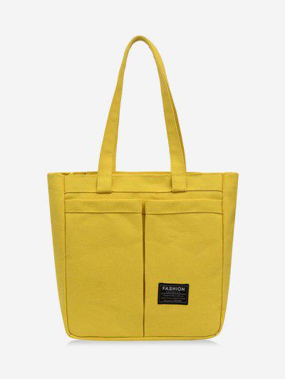 Letter Label Canvas Tote Bag - Sun Yellow