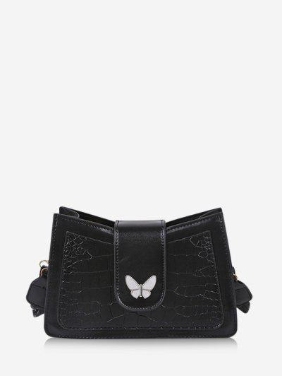 Wrinkle Butterfly Textured Solid Crossbody Bag - Black