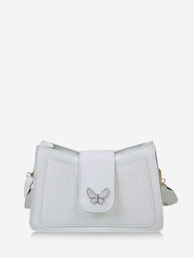 Wrinkle Butterfly Textured Solid Crossbody Bag - Milk White