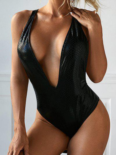 ZAFUL Metallic Snakeskin Plunging Backless One-piece Swimsuit - Black S