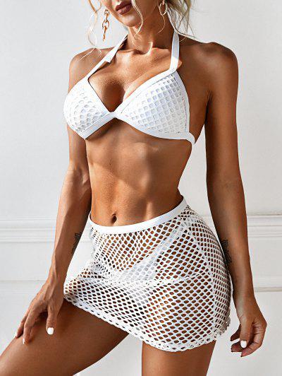 ZAFUL Fishnet Insert Halter Three Piece Tanga Bikini Swimwear - White M