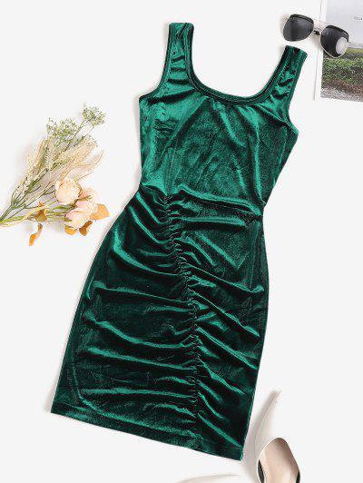 Ruched Velvet Bodycon Tank Dress - Deep Green M