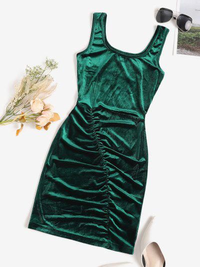 Ruched Velvet Bodycon Tank Dress - Deep Green L