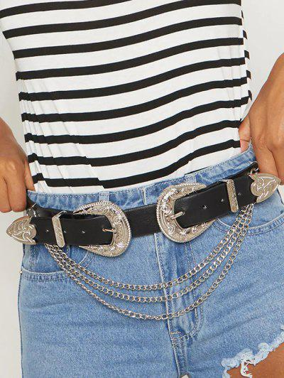 Layers Chains Double Buckle Belt - Black