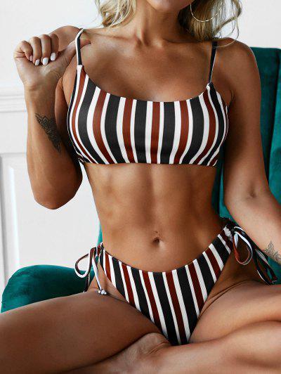 ZAFUL Striped Ribbed High Leg Bikini Swimwear - Multi M