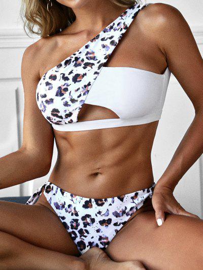 ZAFUL Leopard Tied Cutout One Shoulder Bikini Swimwear - Deep Coffee S