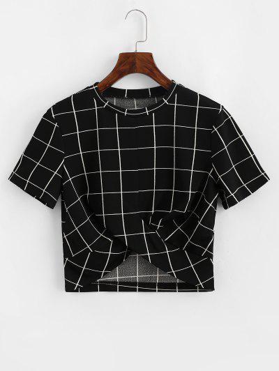 ZAFUL Cropped Grid Plaid Twist Tee - Black L