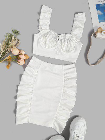 Geraffte Krawatte Rüschen Zweiteiliges Kleid Set - Weiß S