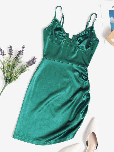 V Wired Cupped Ruched Bodycon Mini Dress - Deep Green M