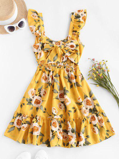 ZAFUL Floral Ruffle Back Knot Sundress - Yellow M