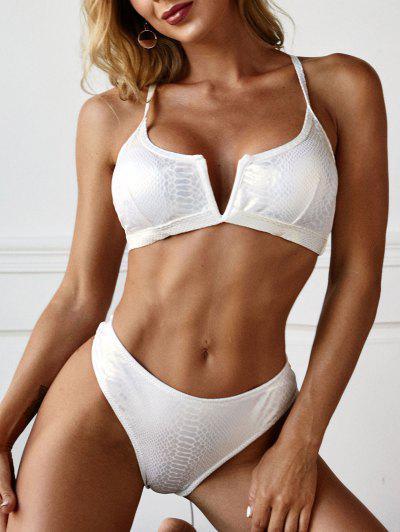 ZAFUL Metallic V Wired Disco Crisscross Back Bikini Swimwear - White M
