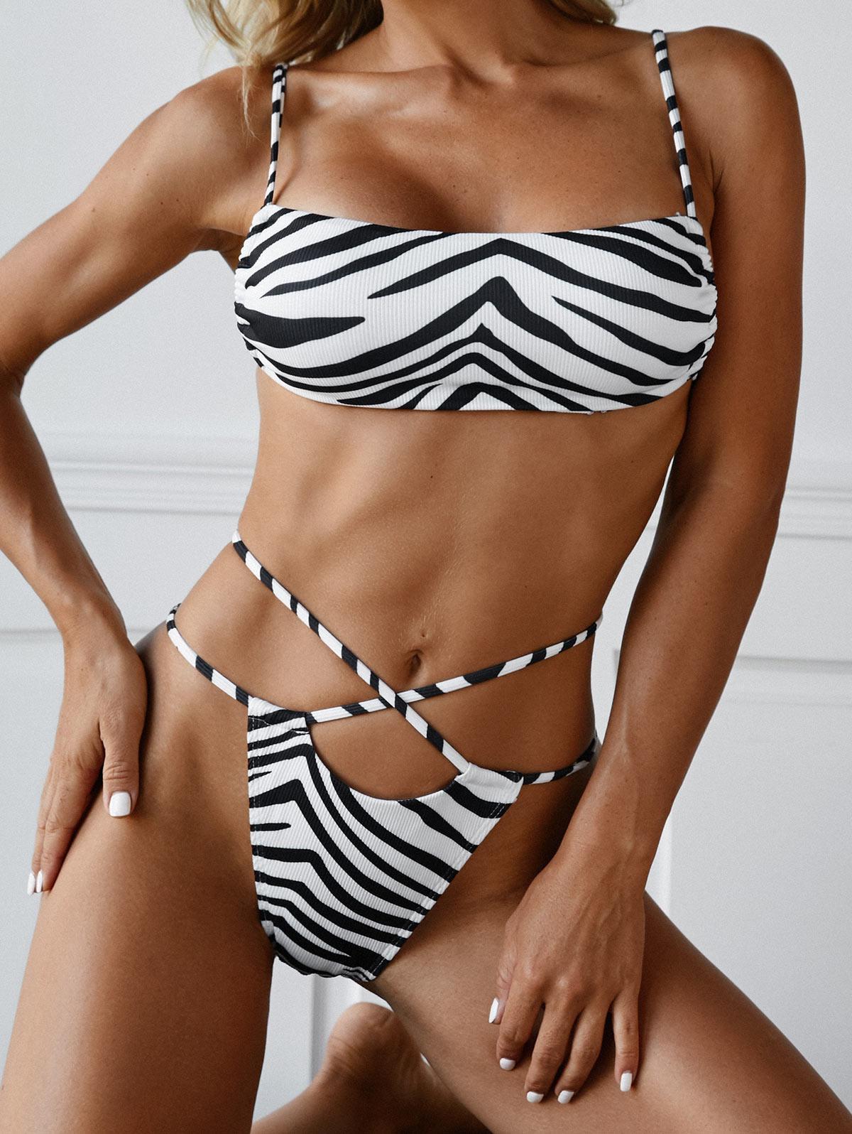 ZAFUL Zebra Print Criss Cross Ribbed Bikini Swimwear