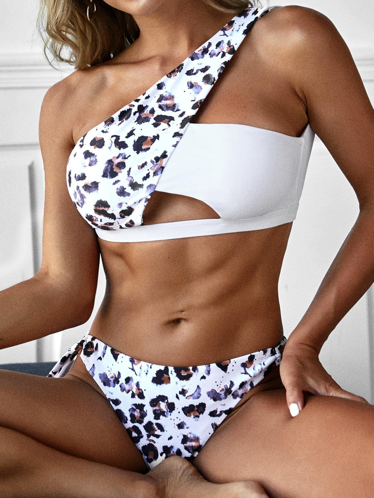 ZAFUL Leopard Tied Cutout One Shoulder Bikini Swimwear