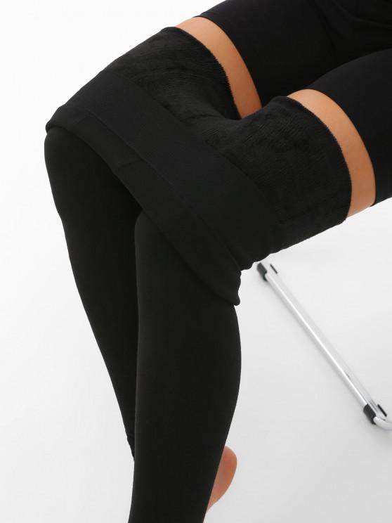 ladies Flocking Lined High Waisted Thermal Leggings - BLACK ONE SIZE