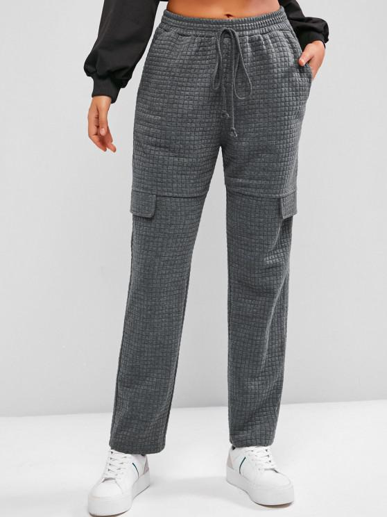 ZAFUL Quilted Flap Detail Bowknot Straight Pants - كربون رمادي S