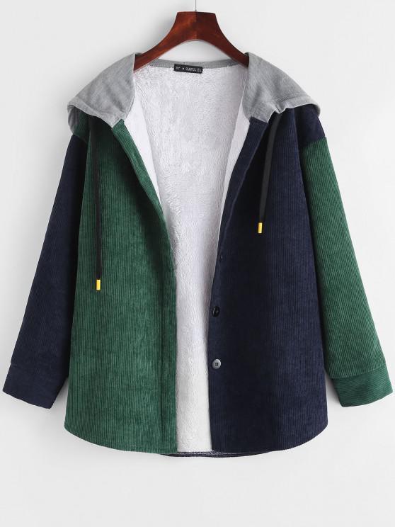 Fleece Lined Colorblock Corduroy Combo Jacket - ديب غرين M