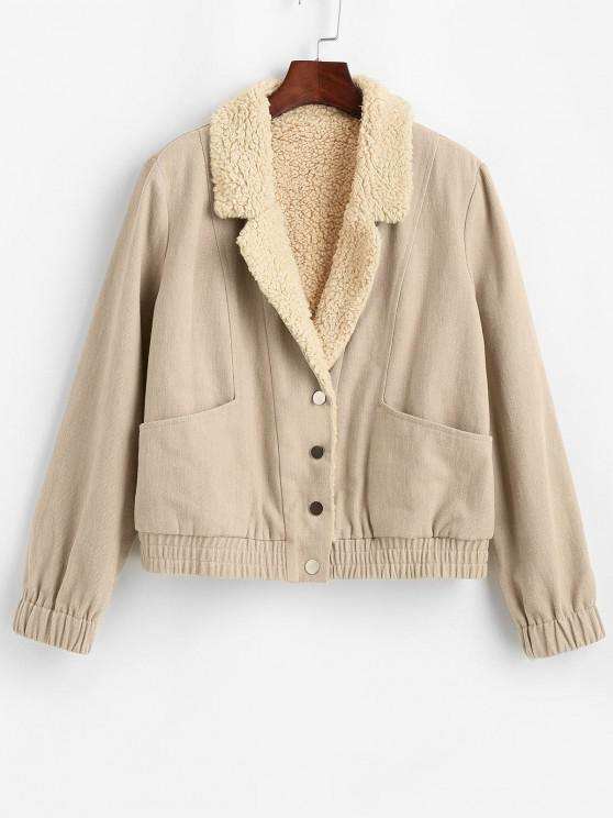 lady ZAFUL Pockets Teddy Lined Jacket - APRICOT S
