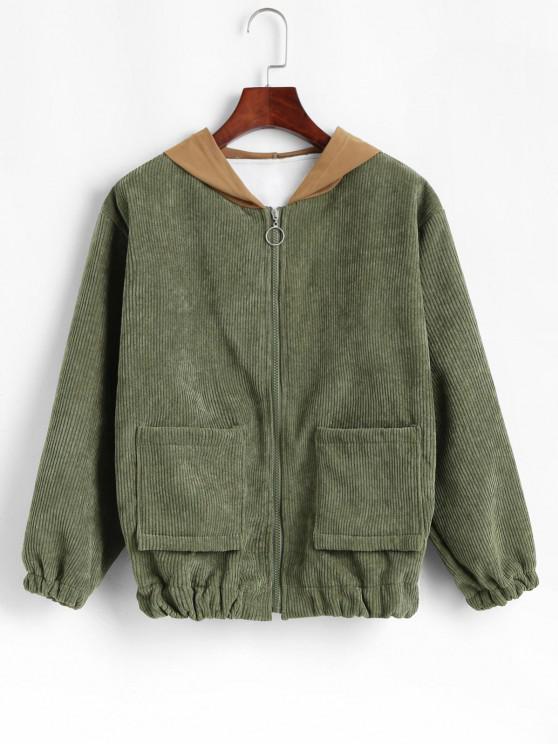 Contrast Hooded Corduroy Fleece Lined Jacket - اخضر فاتح M