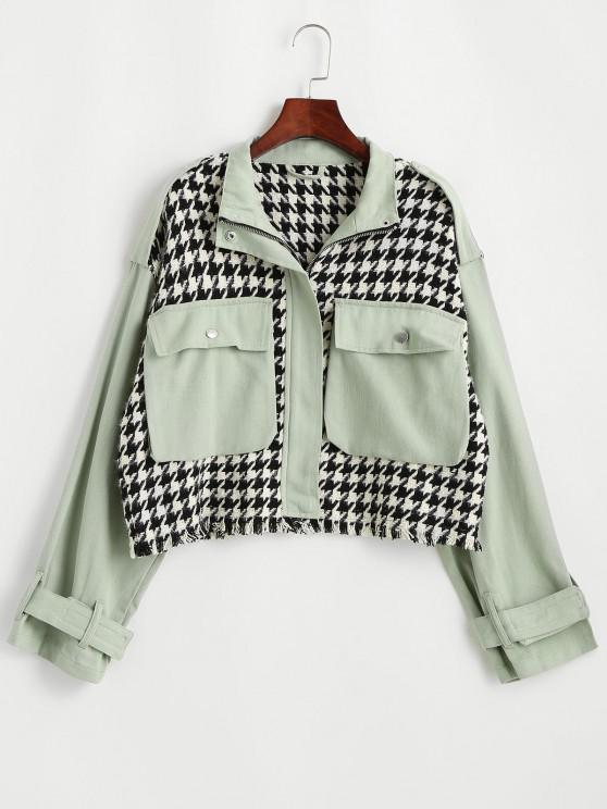 ladies Flap Pocket Houndstooth Twill Panel Tweed Jacket - LIGHT GREEN M