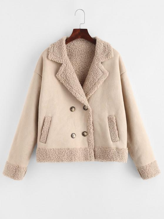 hot ZAFUL Teddy Lined Double Breasted Suede Coat - APRICOT L
