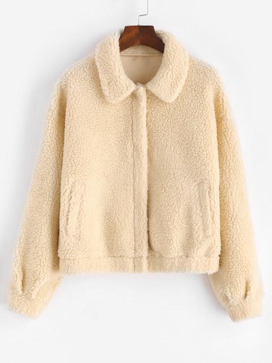Drop Shoulder Snap Button Teddy Coat - مشمش S