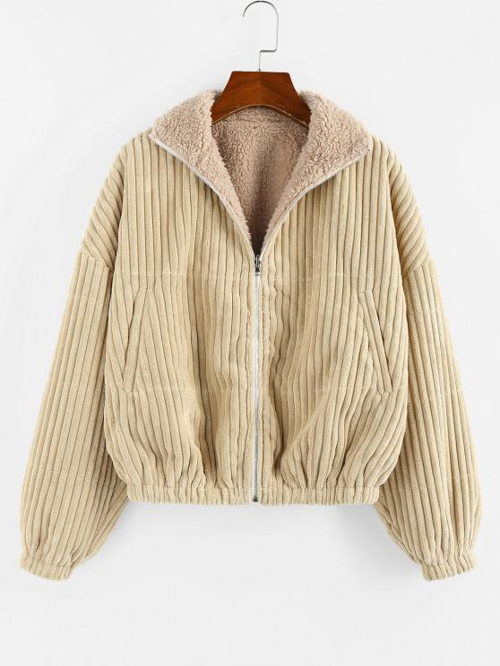 shops ZAFUL Reversible Corduroy Drop Shoulder Teddy Jacket - LIGHT KHAKI L