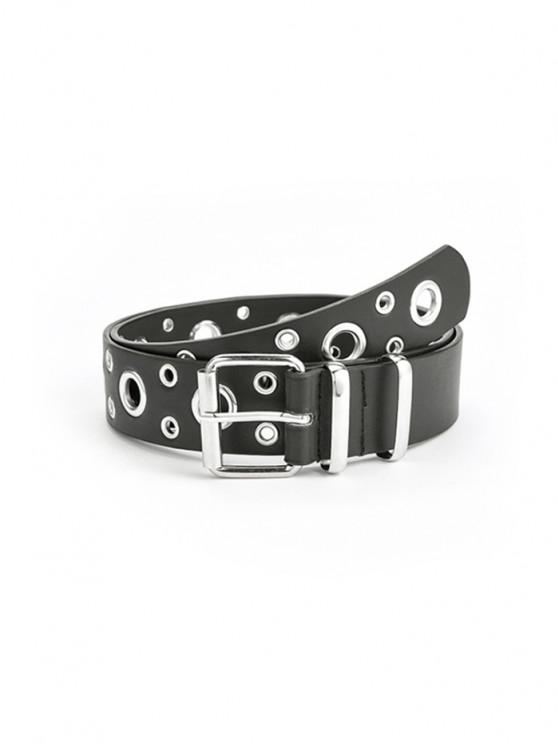ladies Punk Row Grommet Buckle Belt - BLACK