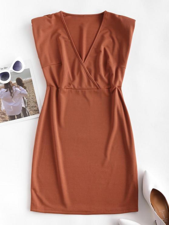 Surplice Padded Shoulder Sheath Work Dress - قهوة S