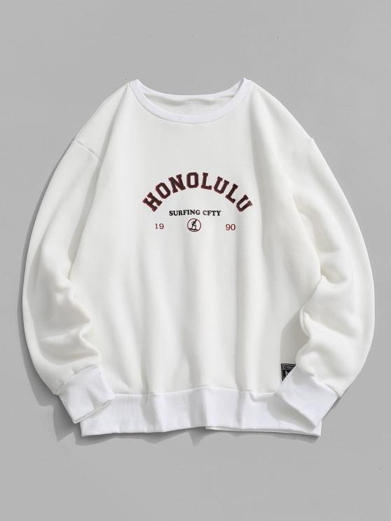affordable Fleece Lined Letter Print Sweatshirt - WHITE M