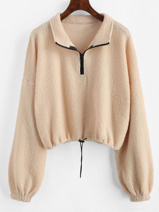 chic ZAFUL Faux Shearling Half Zip Toggle Drawstring Sweatshirt - LIGHT YELLOW M