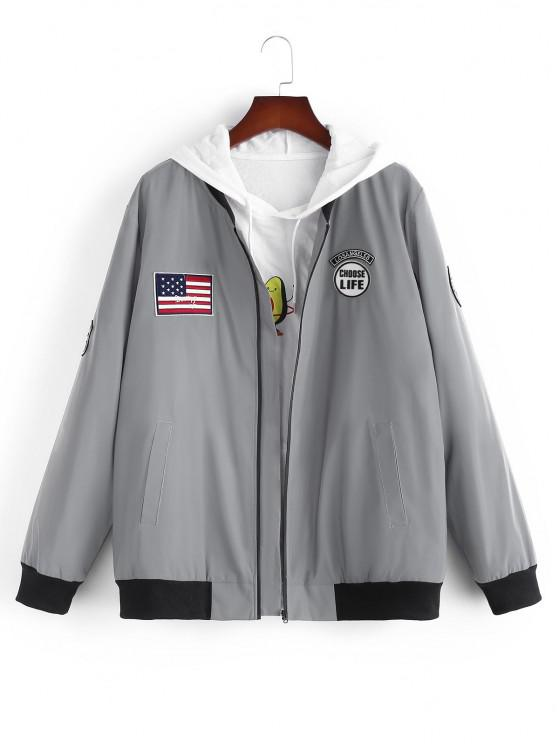 ladies American Flag Embroidered Applique Reflective Padded Jacket - GRAY S