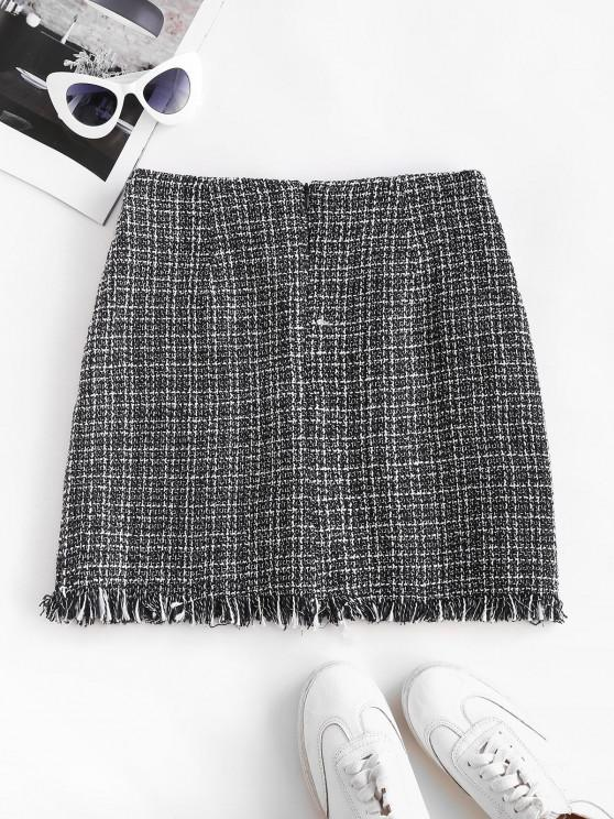 Plaid Frayed Hem Tweed Mini Skirt - Black M   ZAFUL