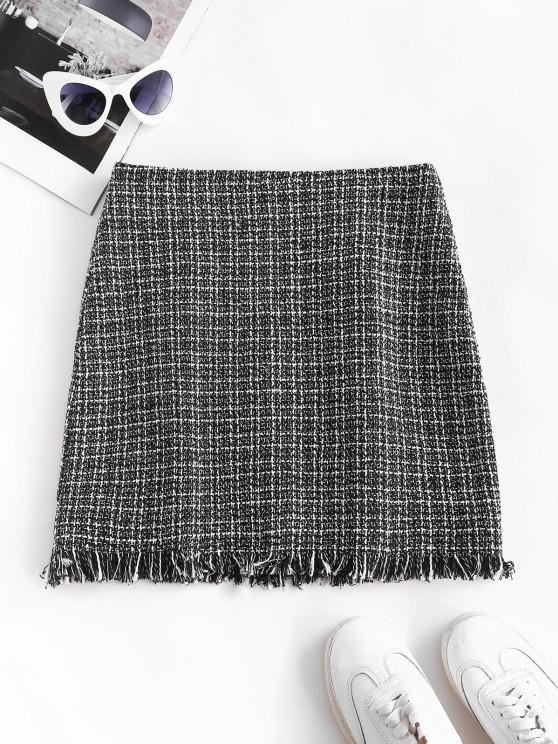 unique Plaid Frayed Hem Tweed Mini Skirt - BLACK L