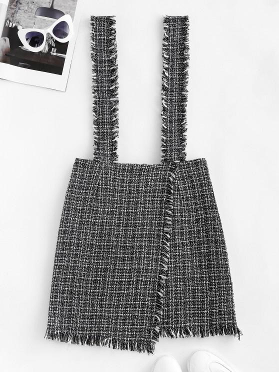 sale Plaid Overlap Tweed Frayed Suspender Skirt - BLACK S