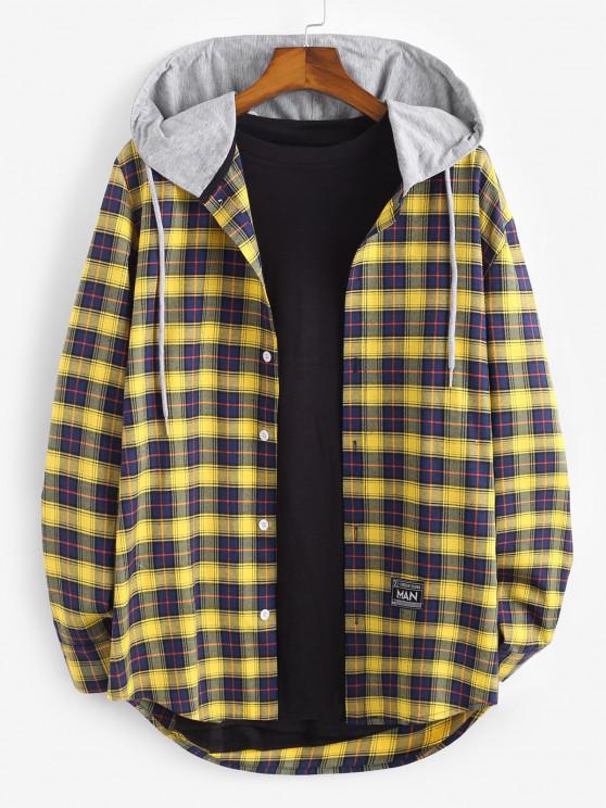 Plaid Print Hooded Applique Detail Shirt - أزرق XL
