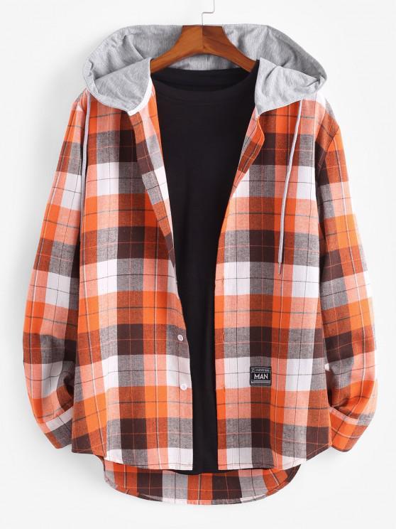 Plaid Print Hooded Applique Detail Shirt - برتقالي قاتم L