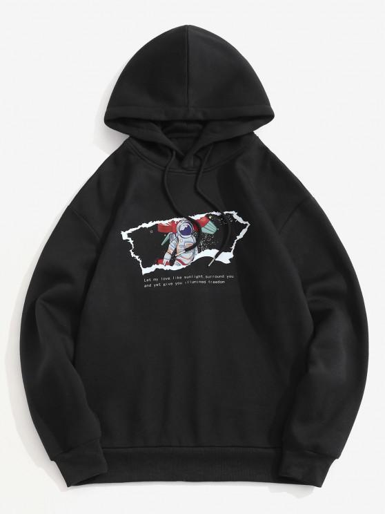Fleece Lined Slogan Astronaut Print Hoodie - أسود L